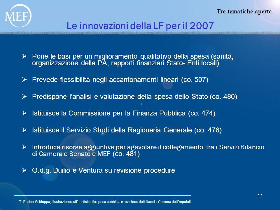 Le innovazioni della LF per il 2007
