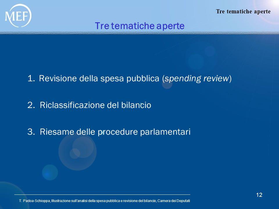 Tre tematiche aperte Revisione della spesa pubblica (spending review)