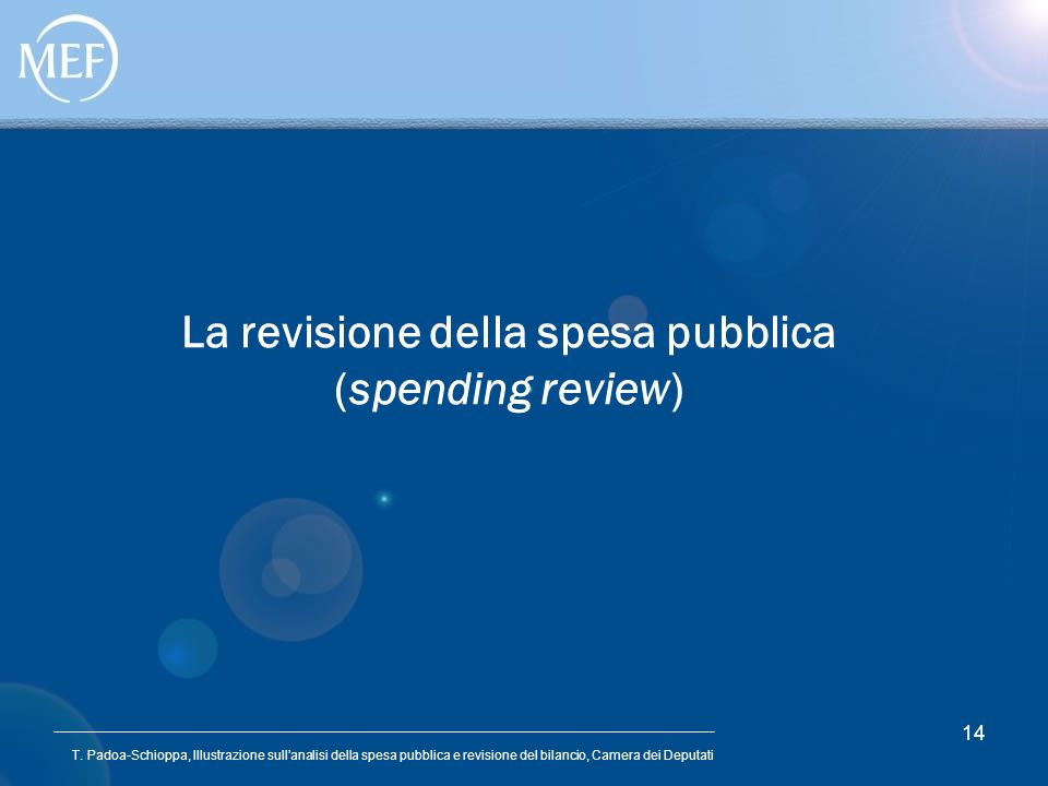 La revisione della spesa pubblica (spending review)