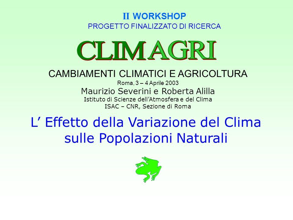 CLIM AGRI L' Effetto della Variazione del Clima