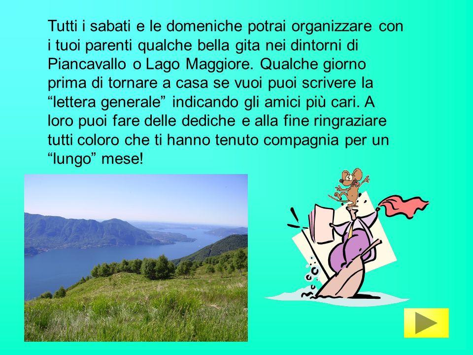 Tutti i sabati e le domeniche potrai organizzare con i tuoi parenti qualche bella gita nei dintorni di Piancavallo o Lago Maggiore.