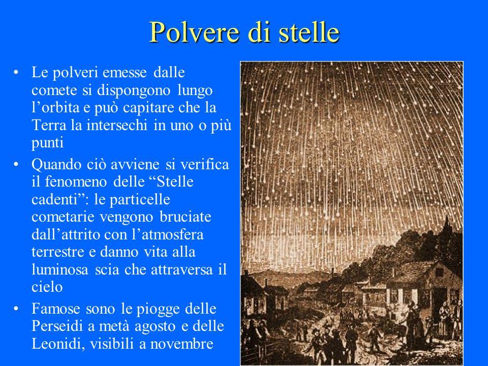 Polvere di stelle Le polveri emesse dalle comete si dispongono lungo l'orbita e può capitare che la Terra la intersechi in uno o più punti.