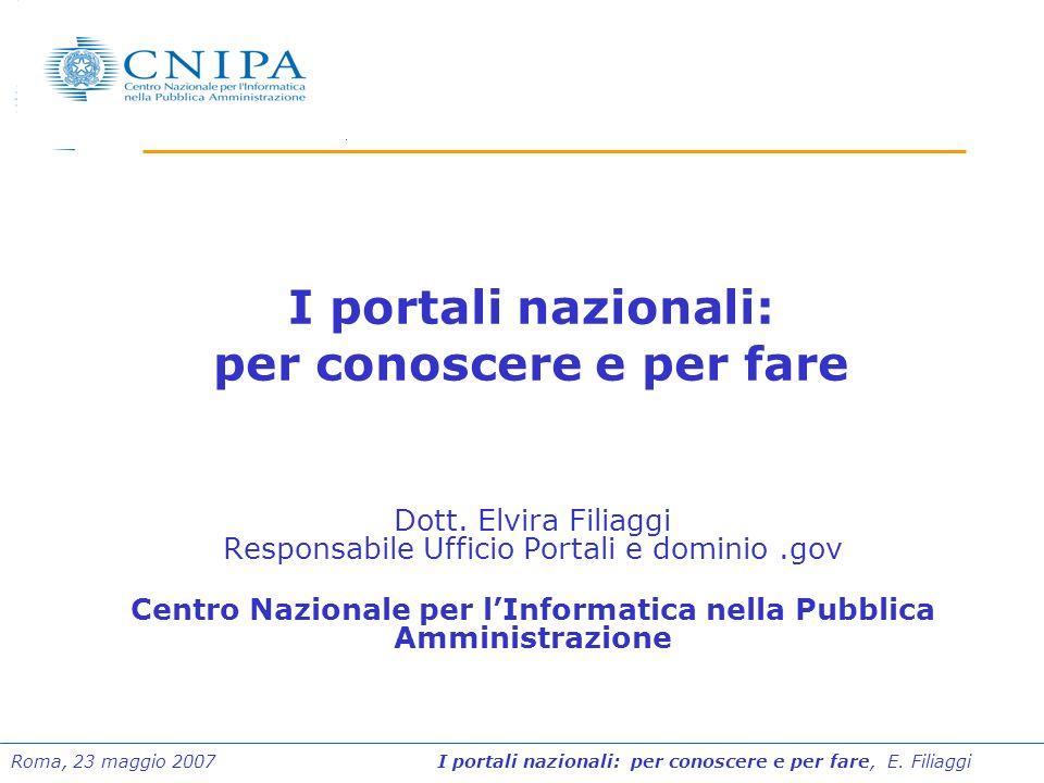 I portali nazionali: per conoscere e per fare