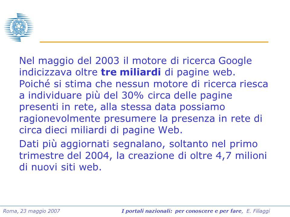 Nel maggio del 2003 il motore di ricerca Google indicizzava oltre tre miliardi di pagine web. Poiché si stima che nessun motore di ricerca riesca a individuare più del 30% circa delle pagine presenti in rete, alla stessa data possiamo ragionevolmente presumere la presenza in rete di circa dieci miliardi di pagine Web.