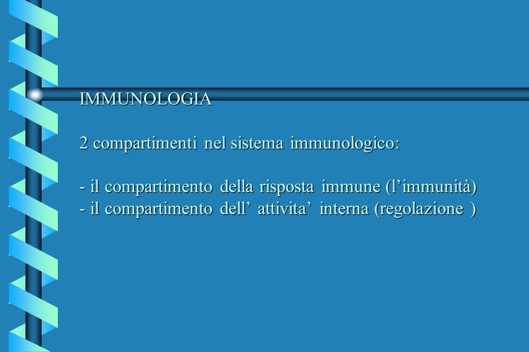 IMMUNOLOGIA 2 compartimenti nel sistema immunologico: - il compartimento della risposta immune (l'immunità) - il compartimento dell' attivita' interna (regolazione )