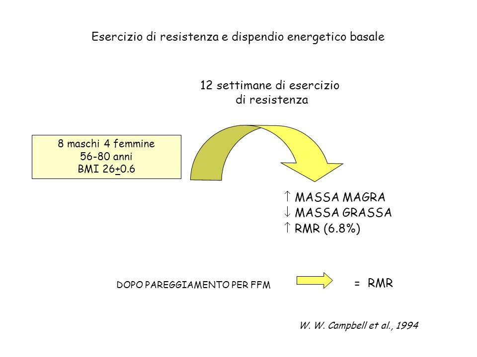 Esercizio di resistenza e dispendio energetico basale