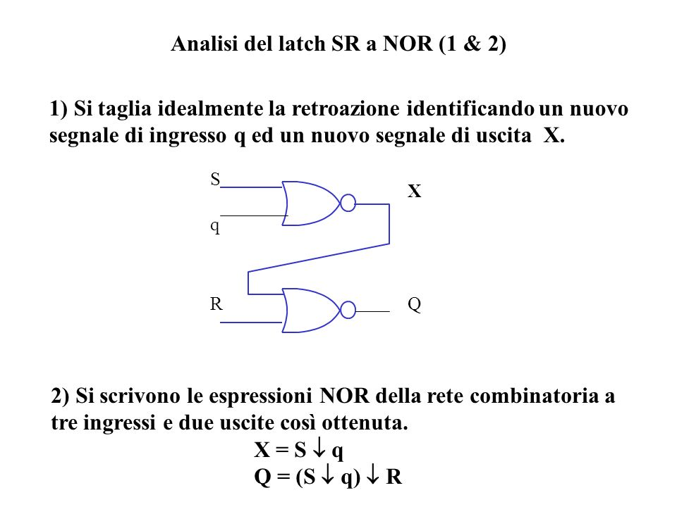 Analisi del latch SR a NOR (1 & 2)