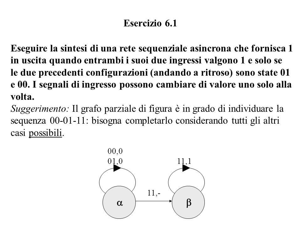 Eseguire la sintesi di una rete sequenziale asincrona che fornisca 1