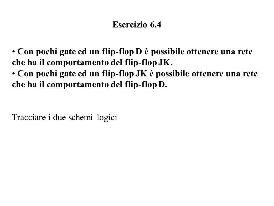 Esercizio 6.4 Con pochi gate ed un flip-flop D è possibile ottenere una rete. che ha il comportamento del flip-flop JK.
