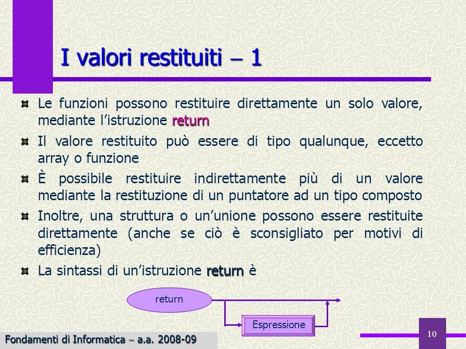 I valori restituiti  1 Le funzioni possono restituire direttamente un solo valore, mediante l'istruzione return.