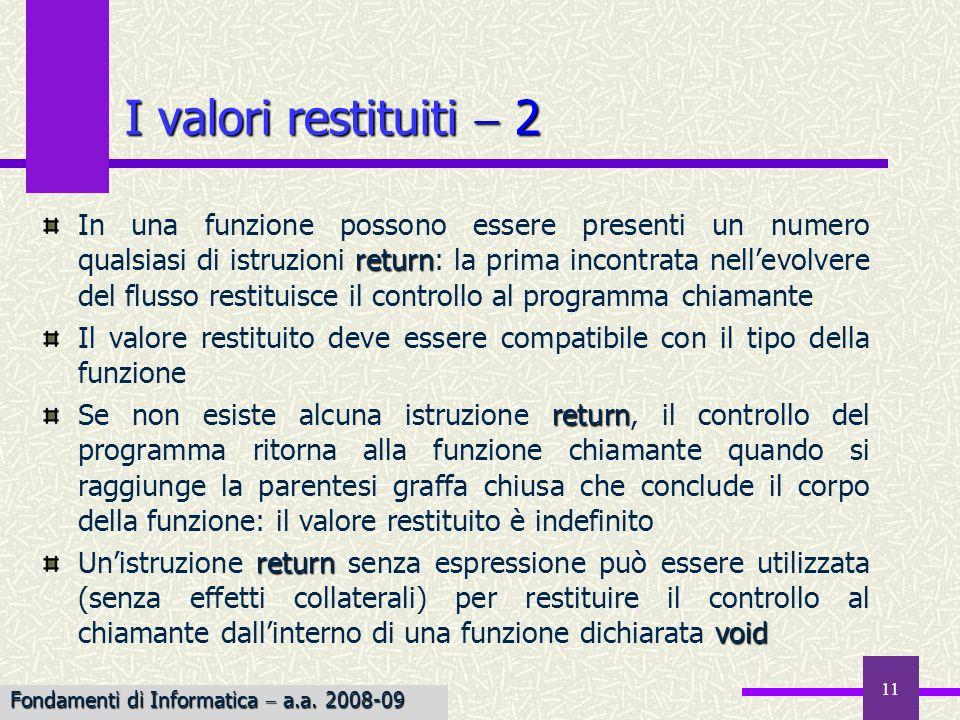 I valori restituiti  2