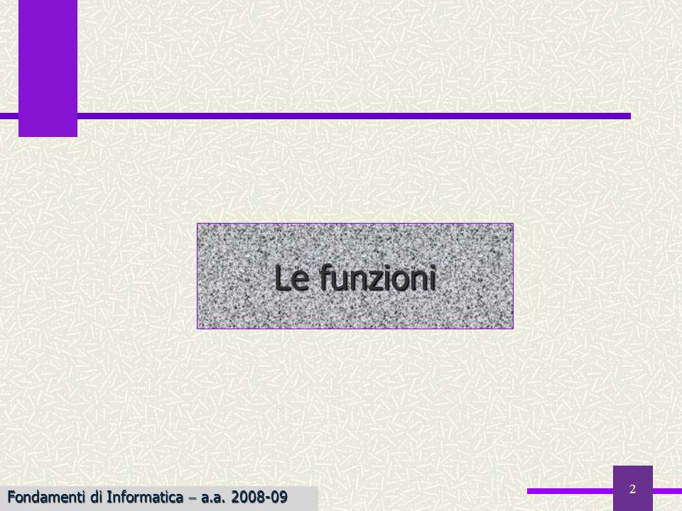 Le funzioni Fondamenti di Informatica  a.a. 2008-09