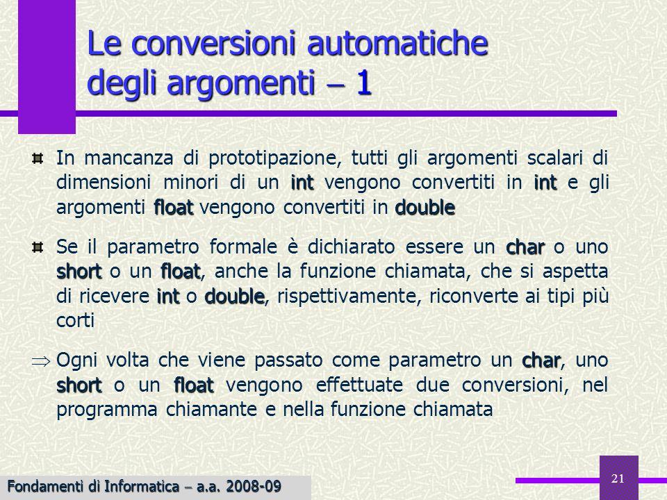 Le conversioni automatiche degli argomenti  1