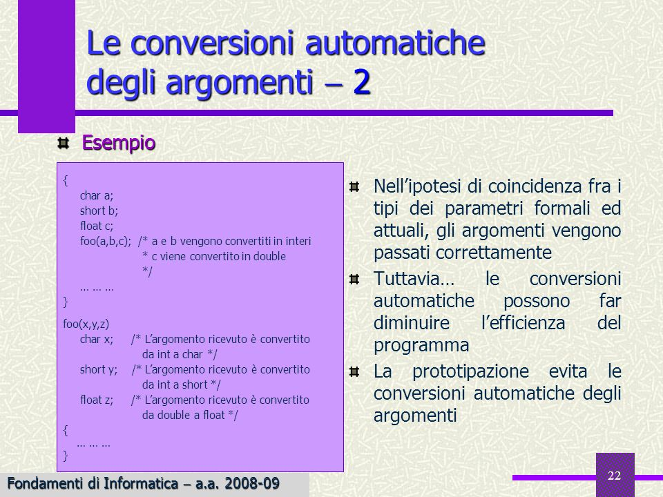Le conversioni automatiche degli argomenti  2