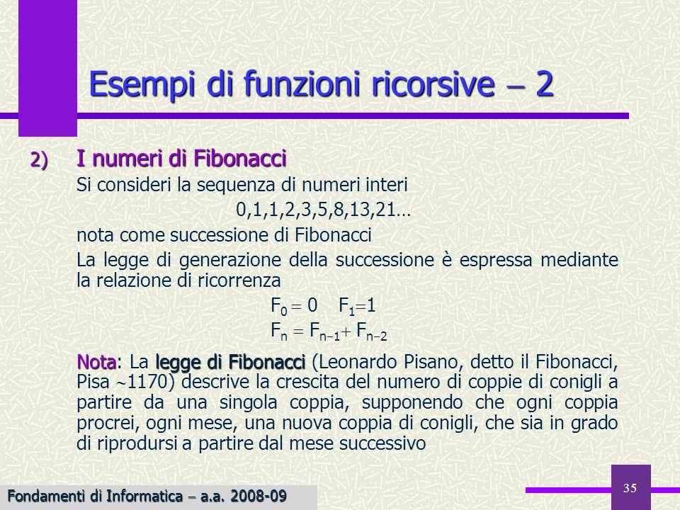 Esempi di funzioni ricorsive  2