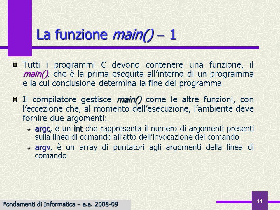 La funzione main()  1