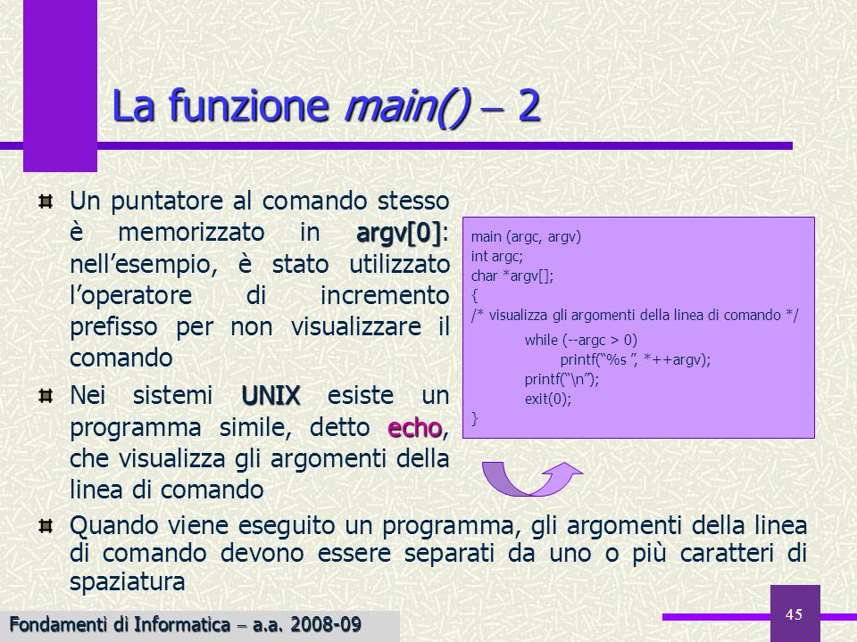 La funzione main()  2