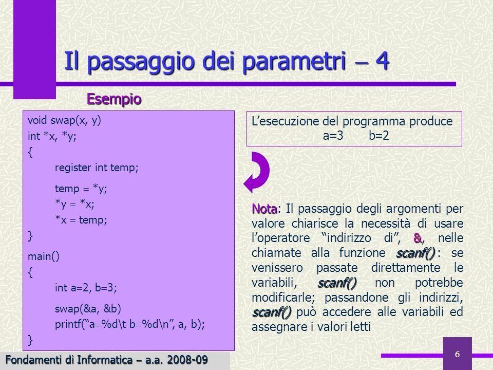 Il passaggio dei parametri  4