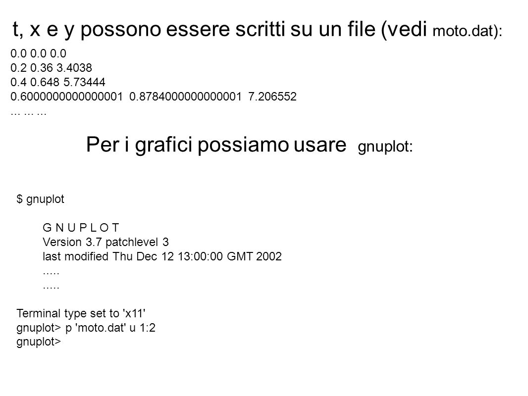 t, x e y possono essere scritti su un file (vedi moto.dat):