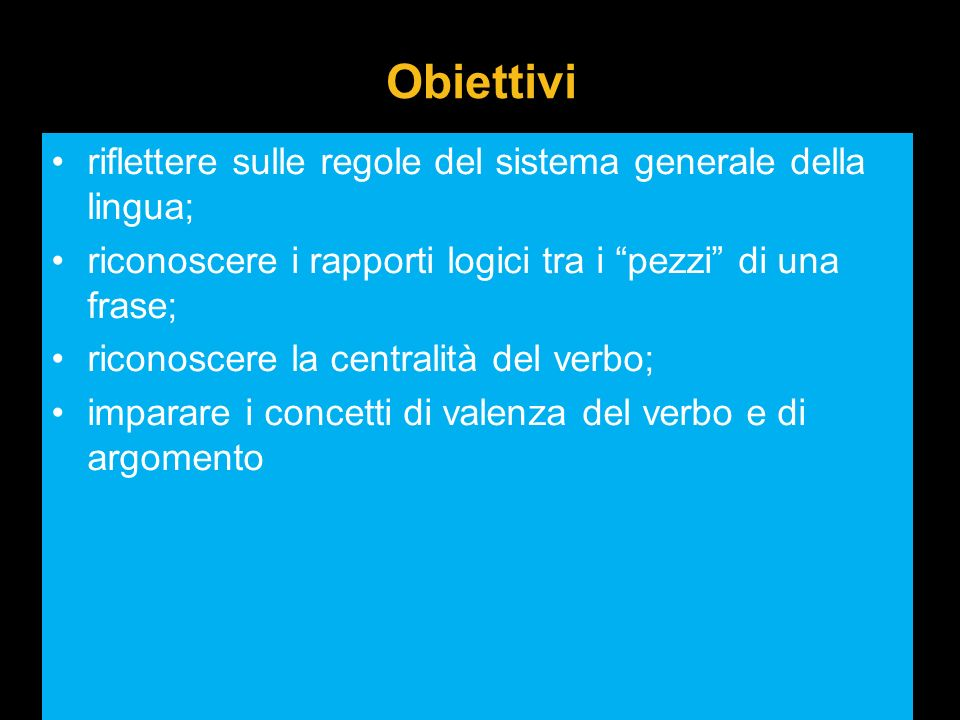 Obiettivi riflettere sulle regole del sistema generale della lingua;
