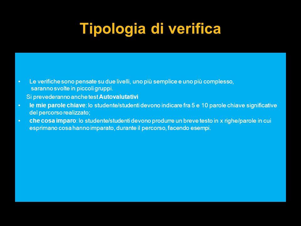 Tipologia di verifica Le verifiche sono pensate su due livelli, uno più semplice e uno più complesso, saranno svolte in piccoli gruppi.
