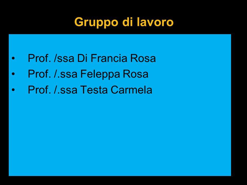 Gruppo di lavoro Prof. /ssa Di Francia Rosa Prof. /.ssa Feleppa Rosa