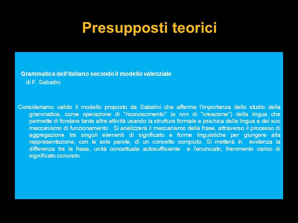 Presupposti teorici Grammatica dell'italiano secondo il modello valenziale. di F. Sabatini.