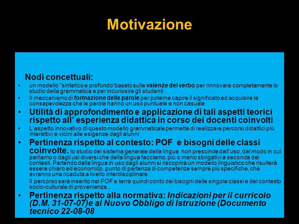 Motivazione Nodi concettuali: