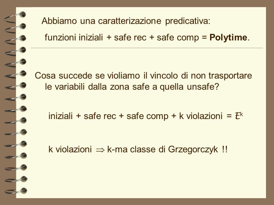funzioni iniziali + safe rec + safe comp = Polytime.