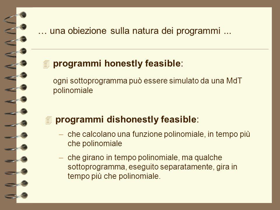 … una obiezione sulla natura dei programmi ...