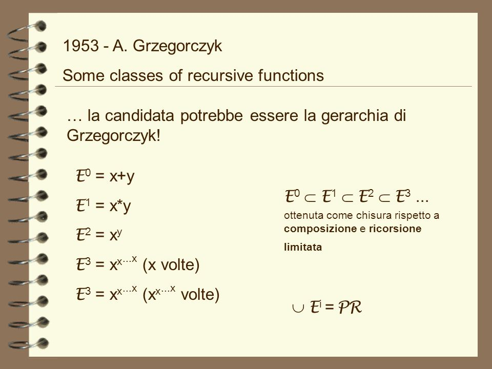 1953 - A. Grzegorczyk Some classes of recursive functions. … la candidata potrebbe essere la gerarchia di Grzegorczyk!