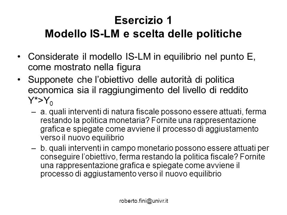 Esercizio 1 Modello IS-LM e scelta delle politiche