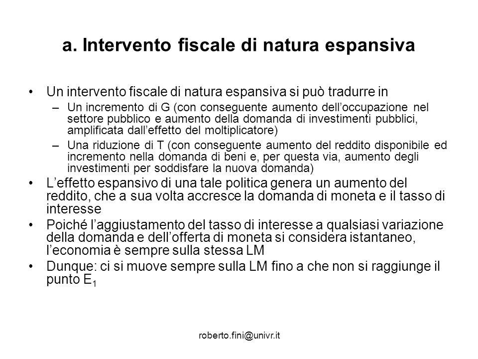 a. Intervento fiscale di natura espansiva