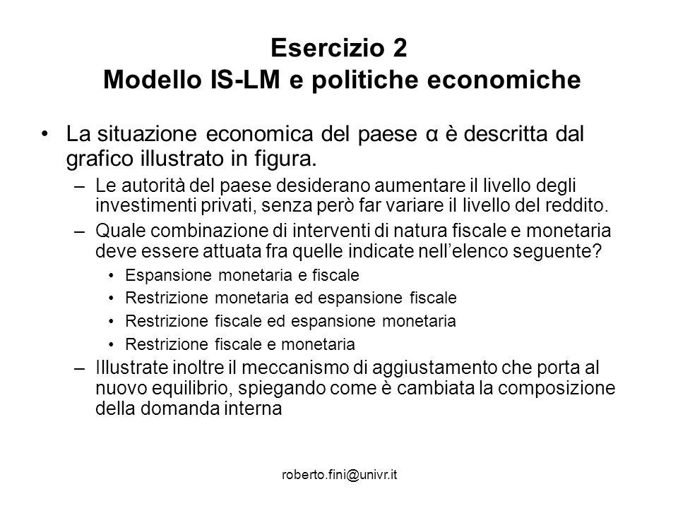 Esercizio 2 Modello IS-LM e politiche economiche
