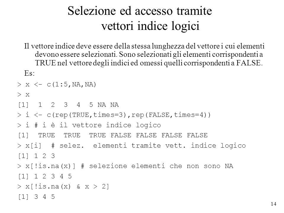 Selezione ed accesso tramite vettori indice logici