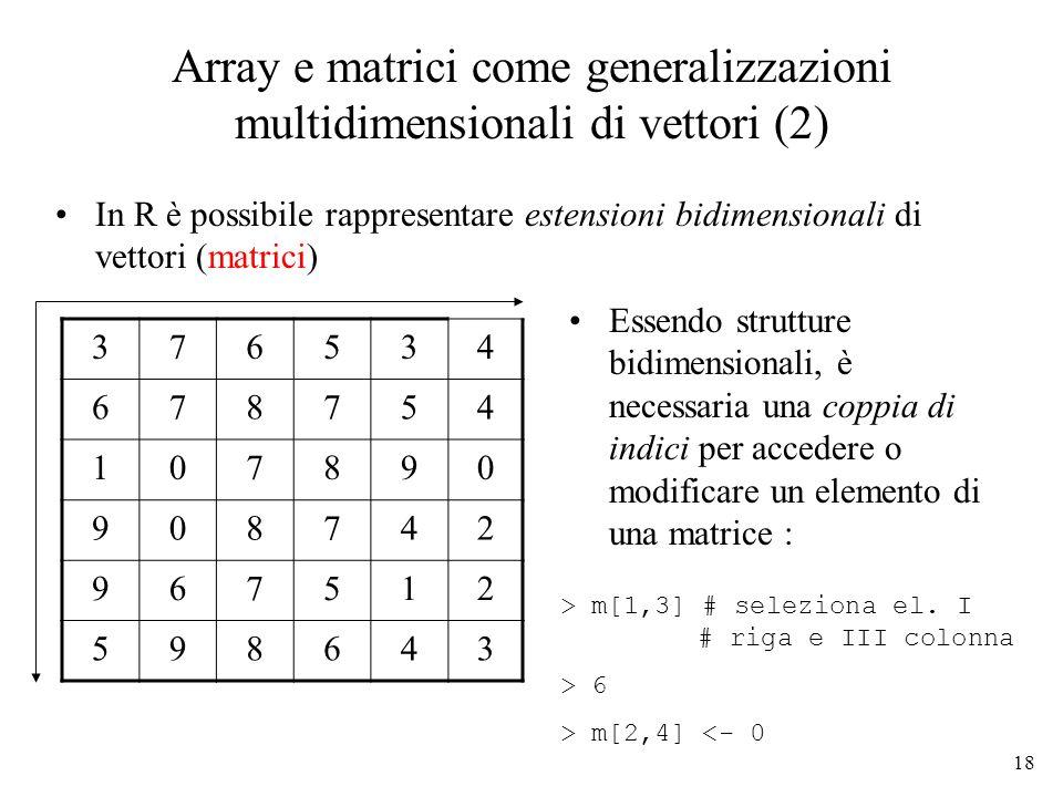Array e matrici come generalizzazioni multidimensionali di vettori (2)