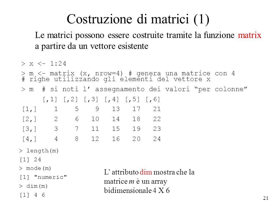 Costruzione di matrici (1)