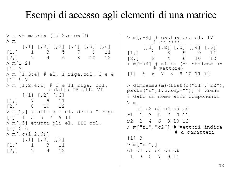 Esempi di accesso agli elementi di una matrice
