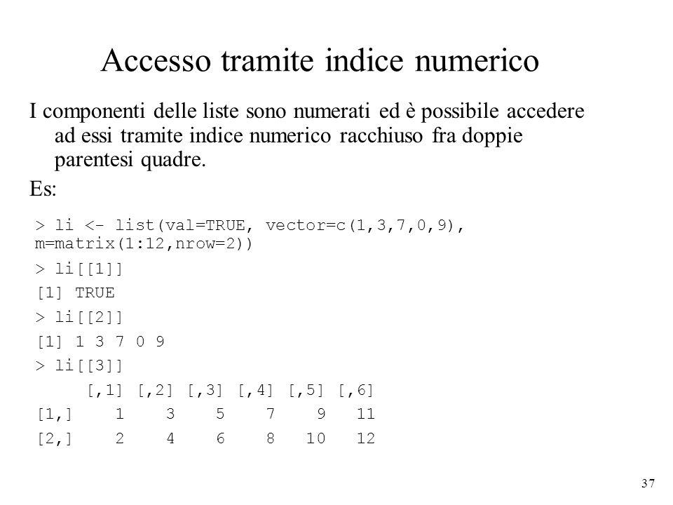 Accesso tramite indice numerico