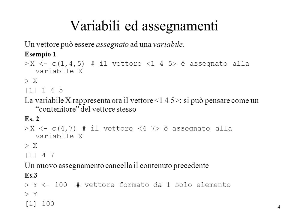 Variabili ed assegnamenti