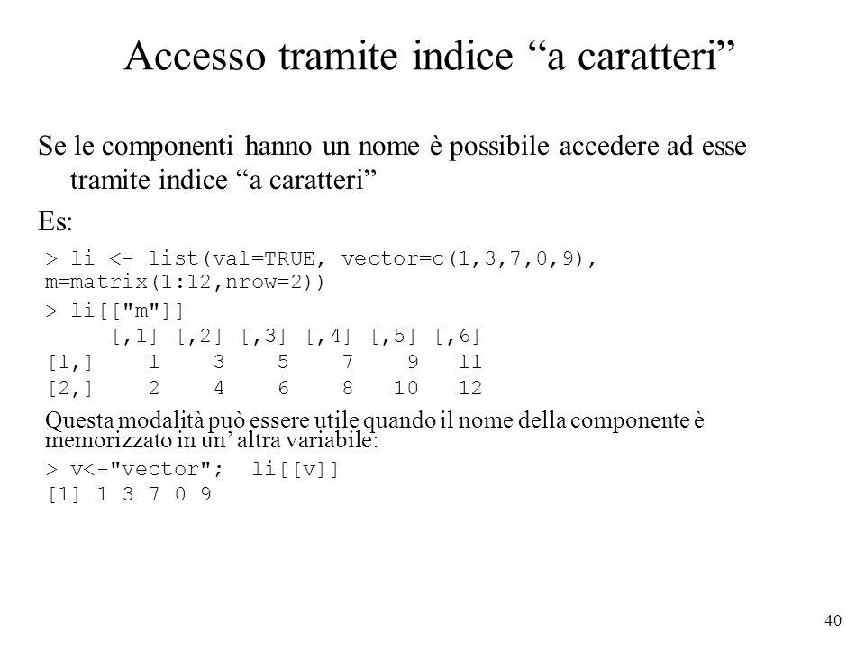 Accesso tramite indice a caratteri