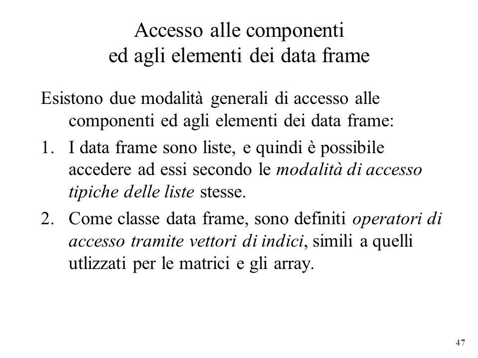 Accesso alle componenti ed agli elementi dei data frame