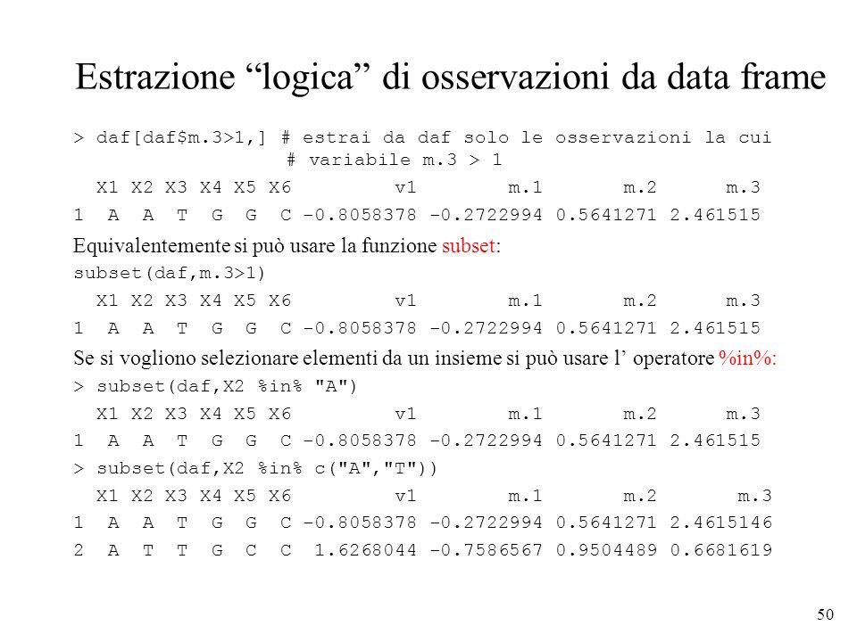 Estrazione logica di osservazioni da data frame