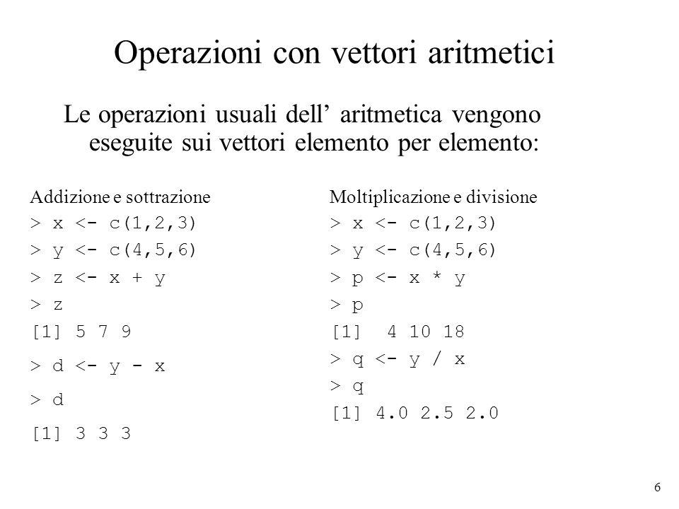 Operazioni con vettori aritmetici