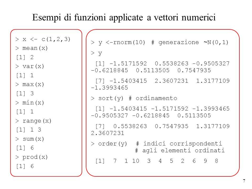Esempi di funzioni applicate a vettori numerici