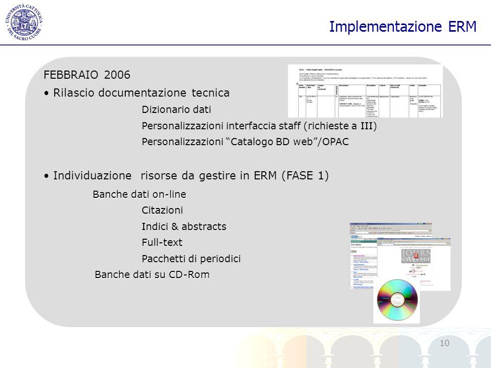 Implementazione ERM FEBBRAIO 2006 Rilascio documentazione tecnica