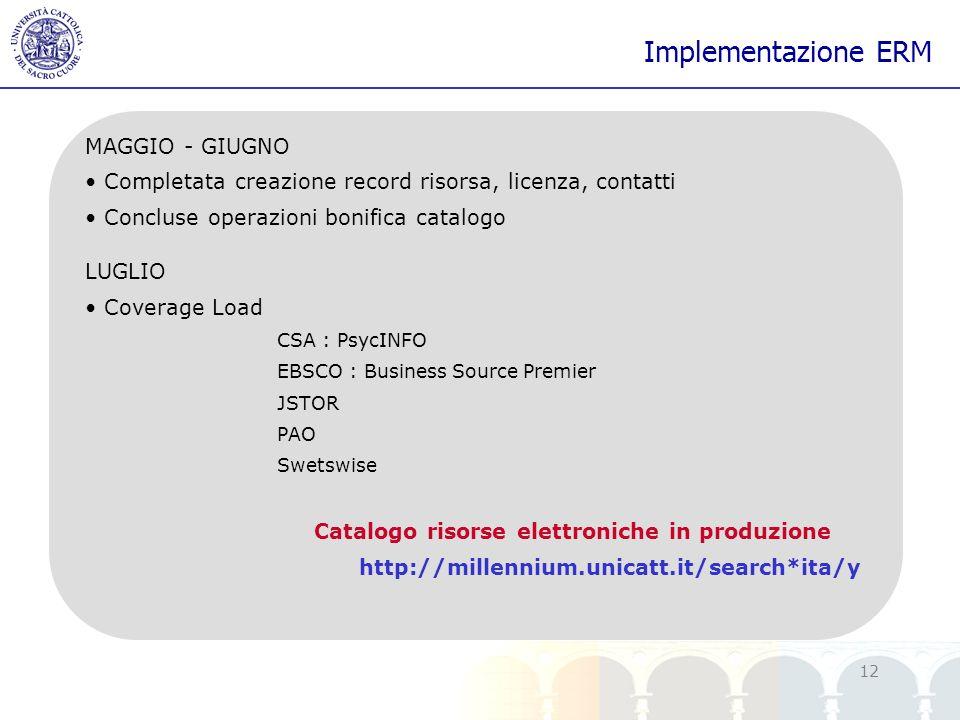 Catalogo risorse elettroniche in produzione
