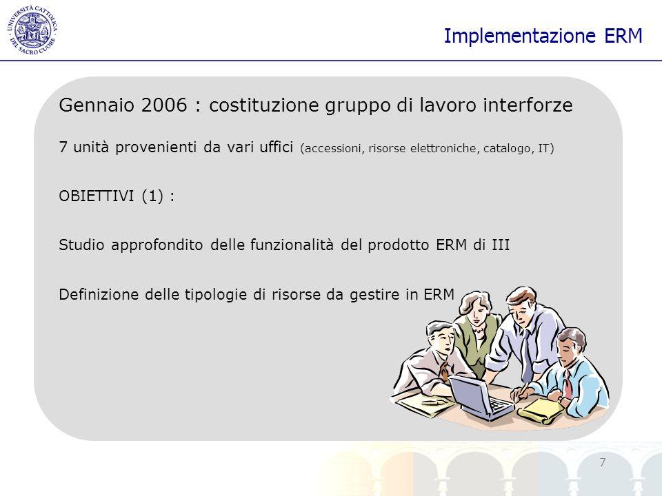Implementazione ERM Gennaio 2006 : costituzione gruppo di lavoro interforze.