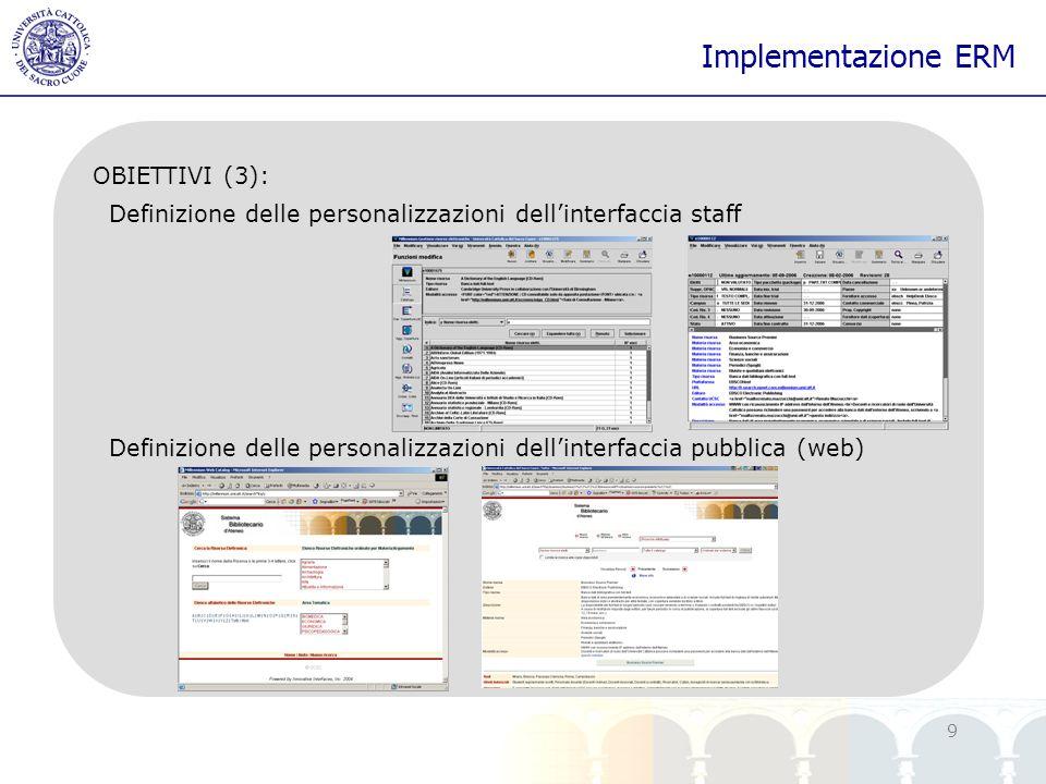 Implementazione ERM OBIETTIVI (3):