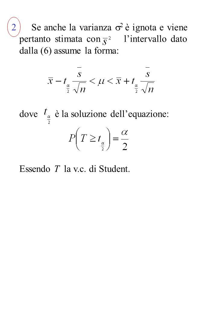 2 Se anche la varianza 2 è ignota e viene pertanto stimata con l'intervallo dato dalla (6) assume la forma: